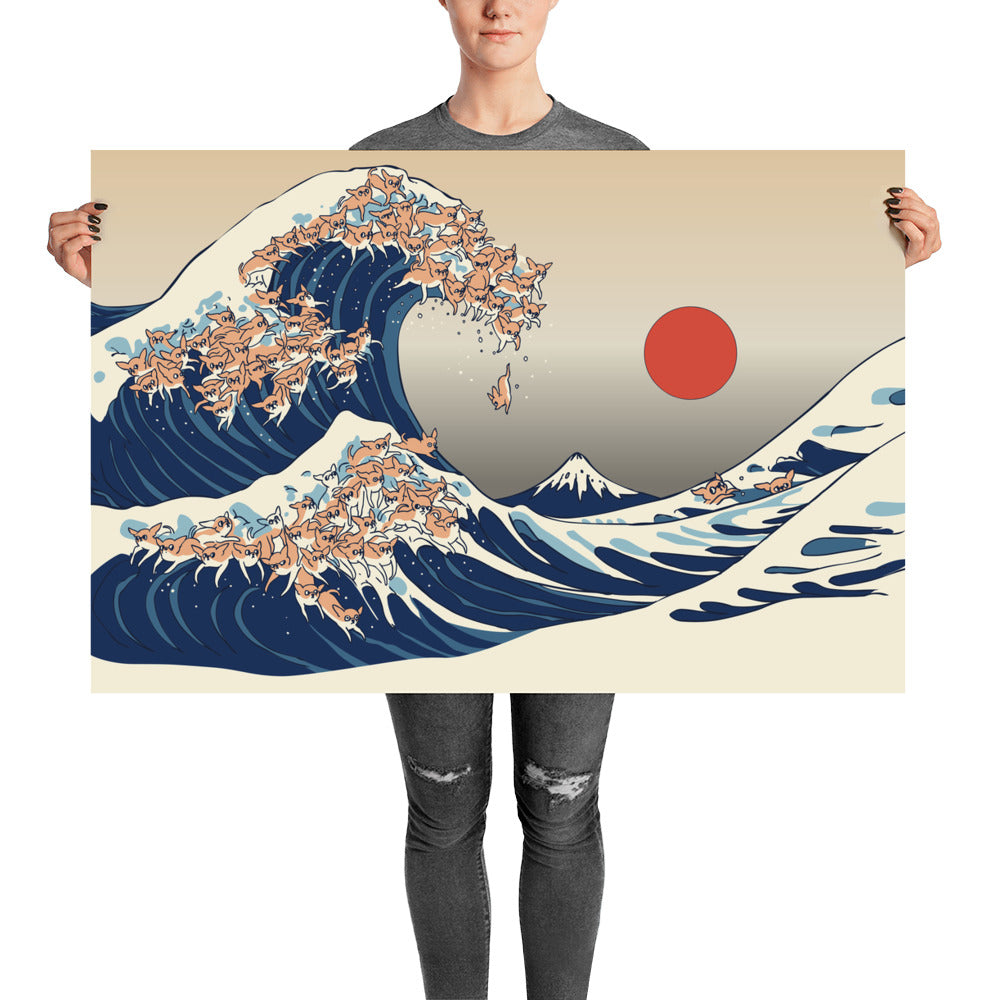 The Great Wave of Chihuahua Poster