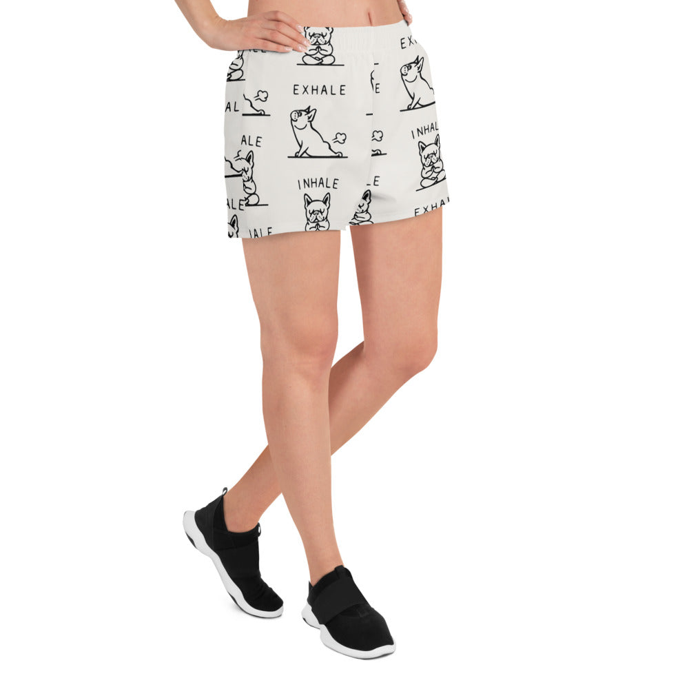 Inhale Exhale Frenchie Women's Athletic Short Shorts