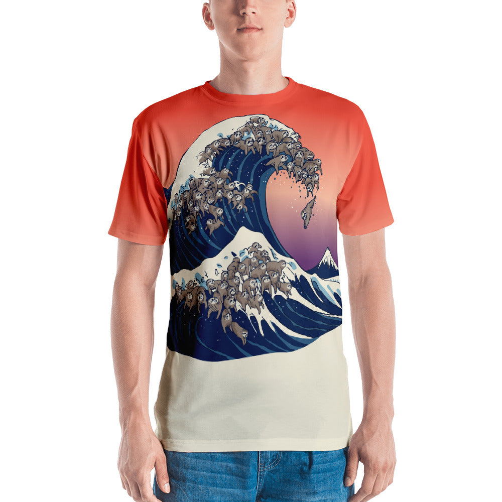 The Great Wave of Sloths All-Over Cut & Sew Men's T-shirt