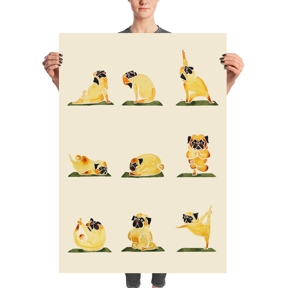 Pug Yoga Watercolor Poster