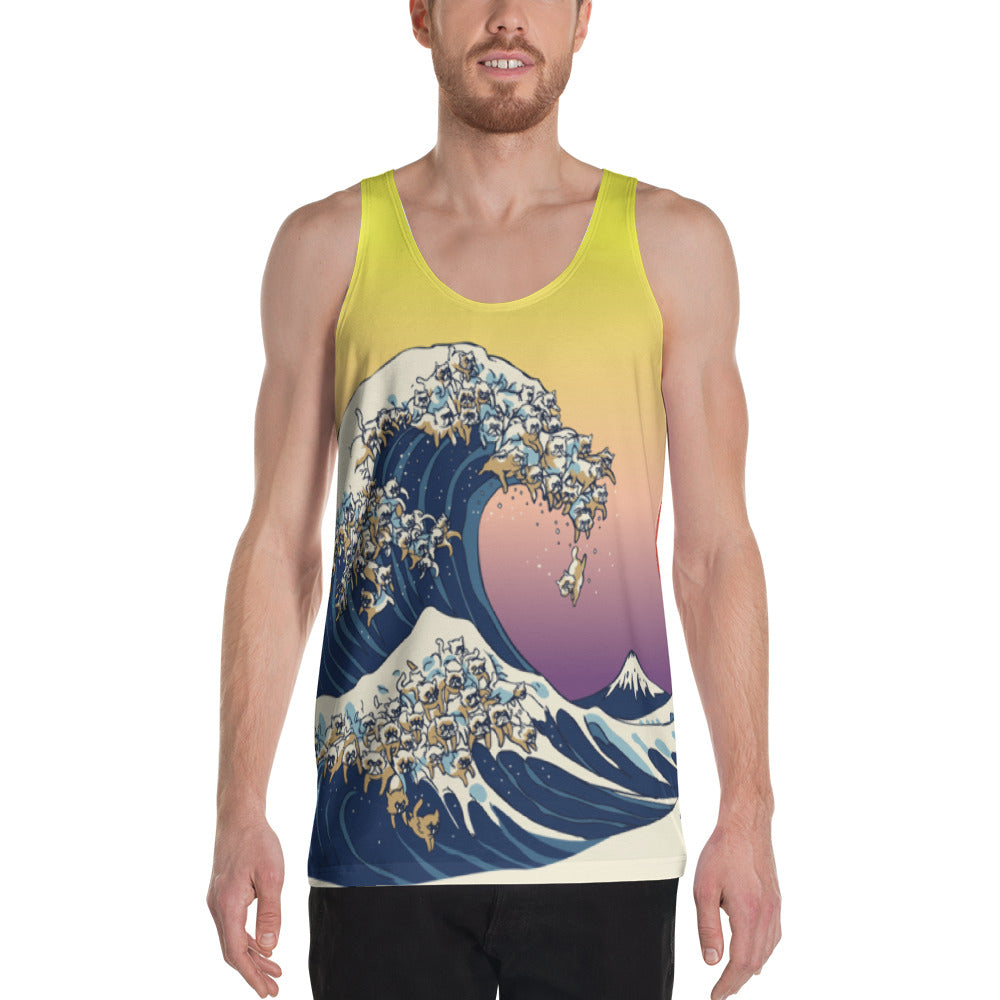 The great wave of Cats Unisex Tank Top
