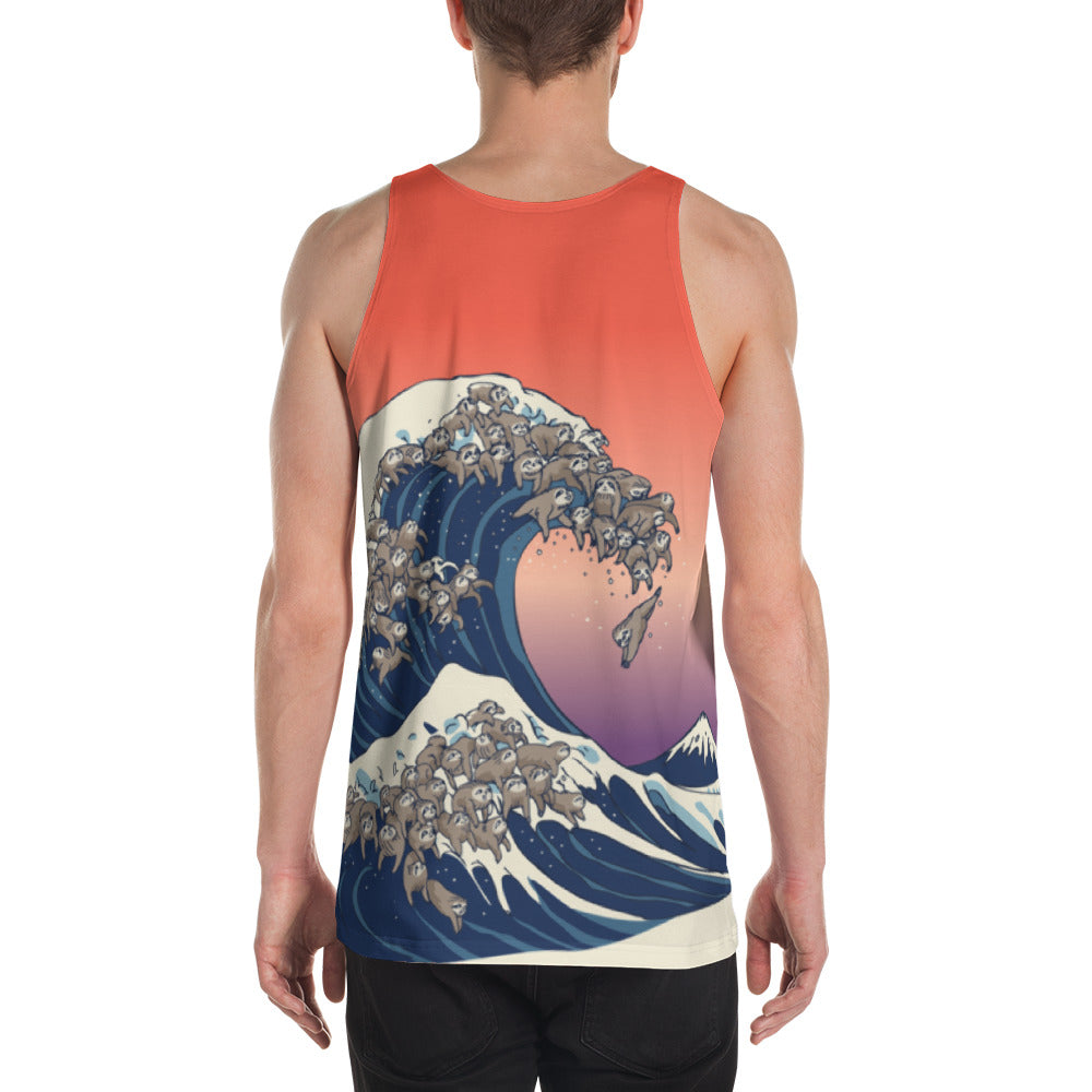 The Great Wave of Sloths Unisex Tank Top