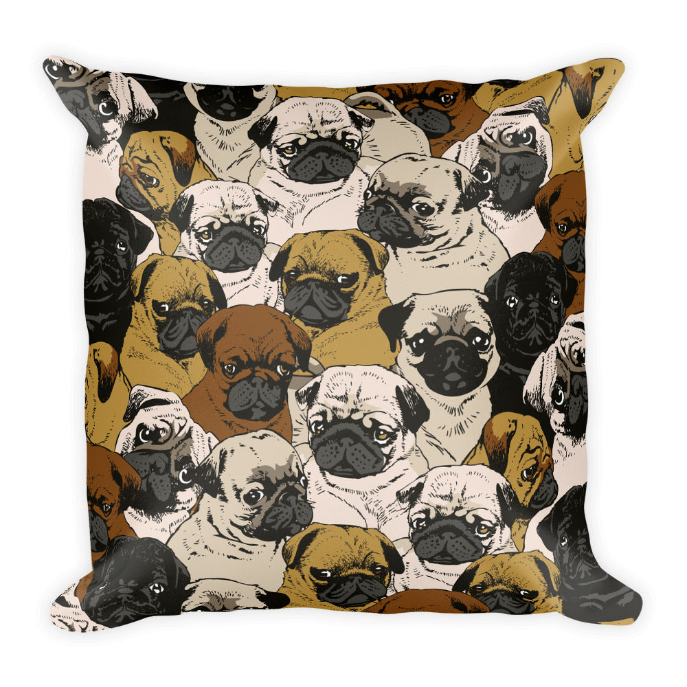 Social Pug Square Pillow
