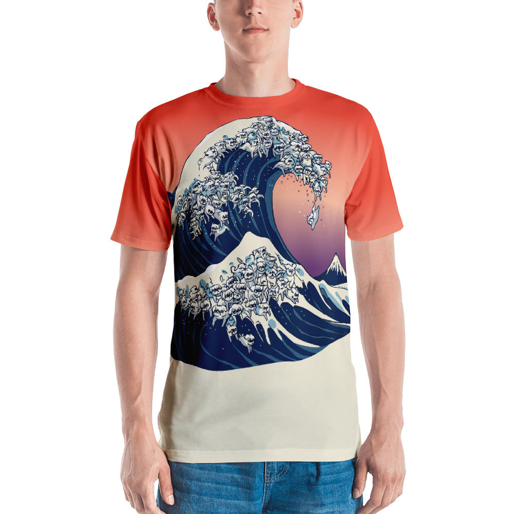 The Great Wave of  Maltese All-Over Cut & Sew Men's T-shirt