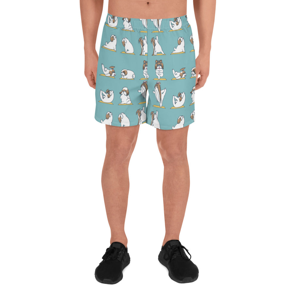 Shih Tzu Yoga Men's Athletic Long Shorts