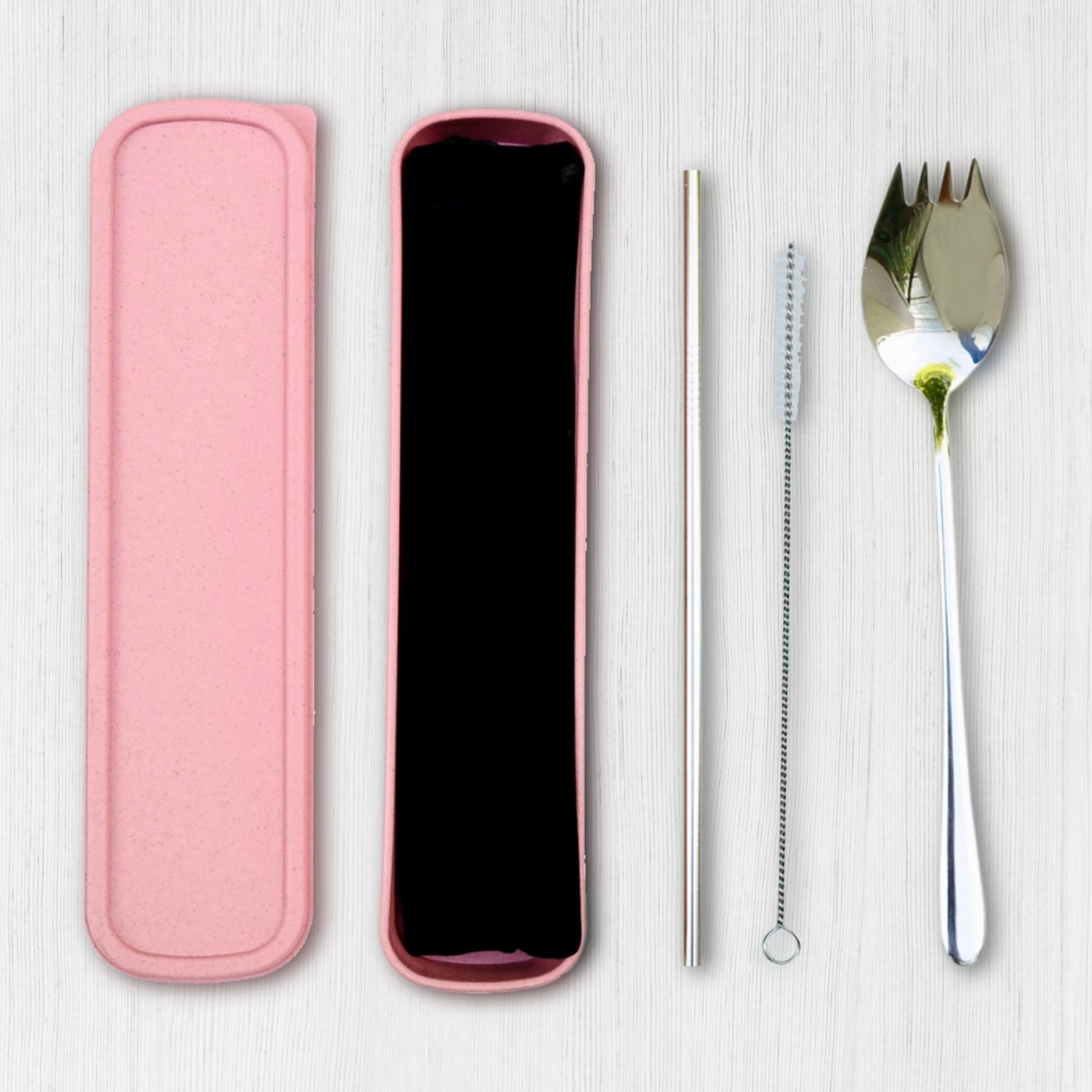 304 Stainless Steel 2 in 1 Salad Spoon Fork, Drinking Straw Gift Box Set