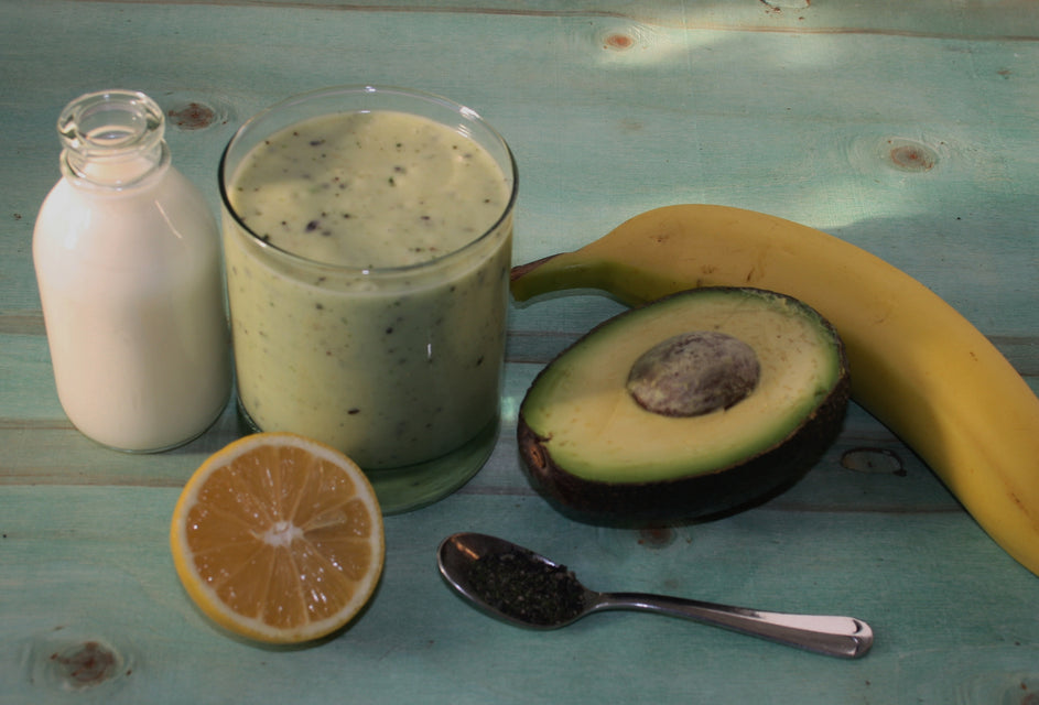 Banana and Avocado smoothie, using Seaweed Boost