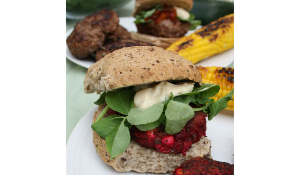 Beetroot, Feta and Seaweed Burgers