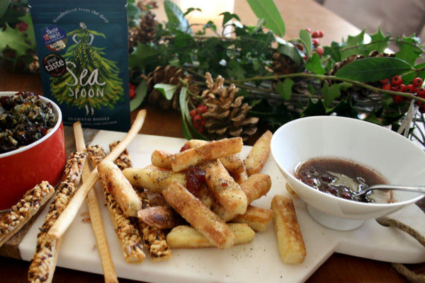 Halloumi Chips with Seaweed and Cranberry