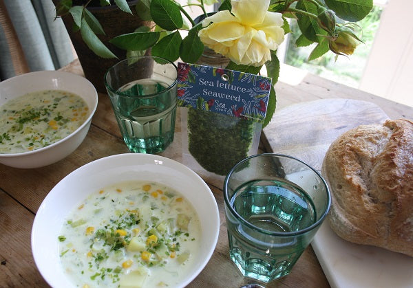 Sweetcorn and Sea Lettuce Seaweed Chowder Recipe
