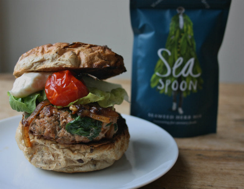 Turkey, spinach and seaweed burgers