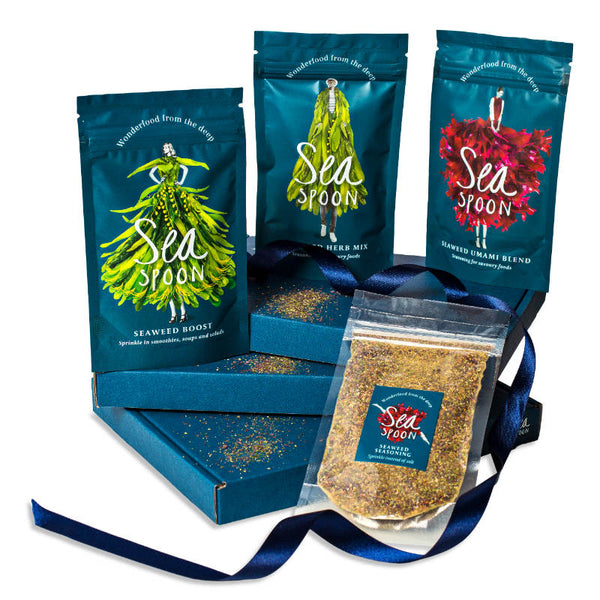 Selection of seasoning flavours made from edible seaweed