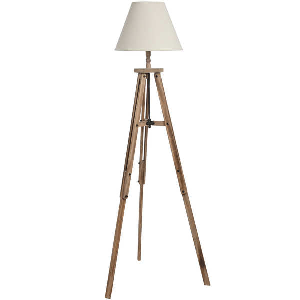 Large Wooden Tripod Lamp