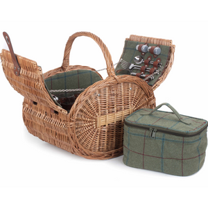 Oval 4 Person Green Tweed Hamper