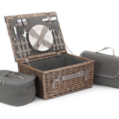 2 Person Grey Tweed Hamper