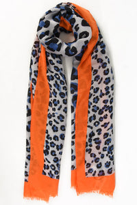 Blue & Orange Leopard Scarf