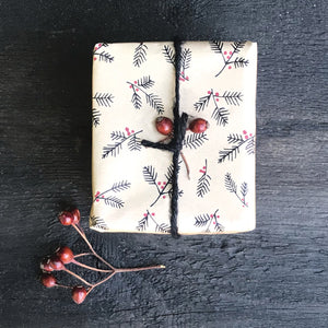 Recycled Berry Branches Kraft wrap 5m