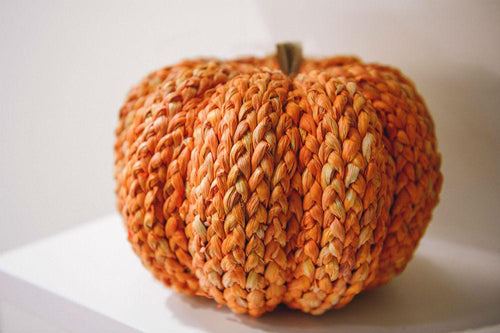 Large Handmade Orange Straw Pumpkin