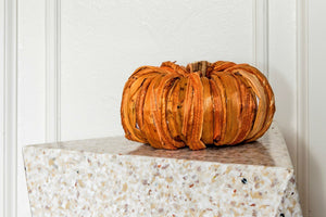 Handmade Orange Straw Pumpkin
