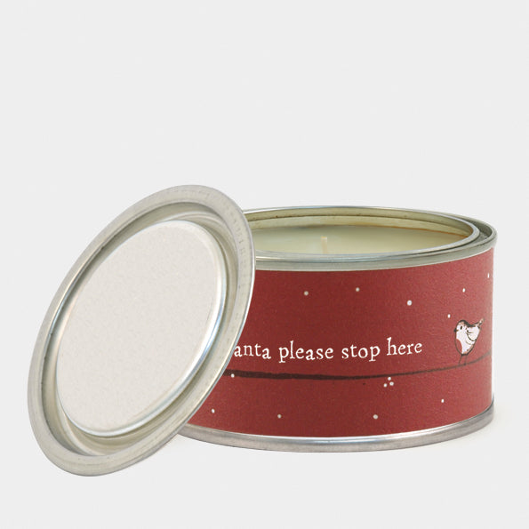 Santa Stop Here Red Robin Candle