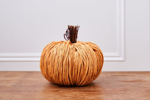 Handmade Yellow Straw Pumpkin with Decorative Stalk