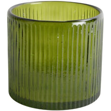 Ribbed Hurricane Glass Vintage Green