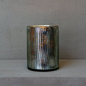 Ribbed Hurricane Glass Vintage Silver