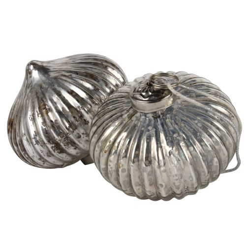Ribbed Onion Decoration Antique Silver
