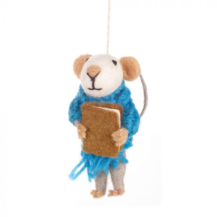Handmade Archie Mouse Hanging Felt Decoration