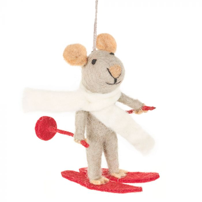 Handmade Marcel the Mouse Hanging Felt Decoration