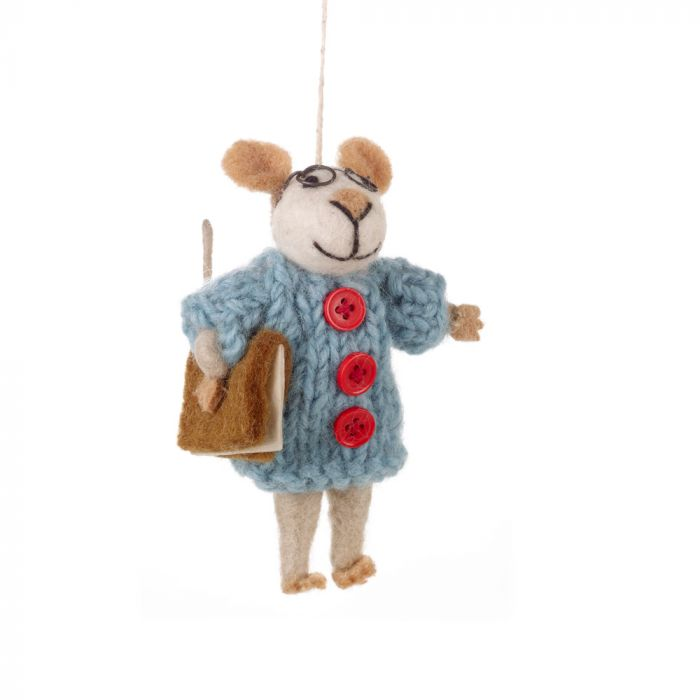 Handmade Susie Mouse Biodegradable Felt Hanging Decoration