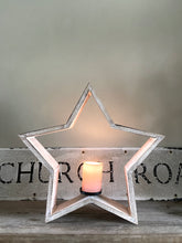 Whitewashed Star Candle Holder