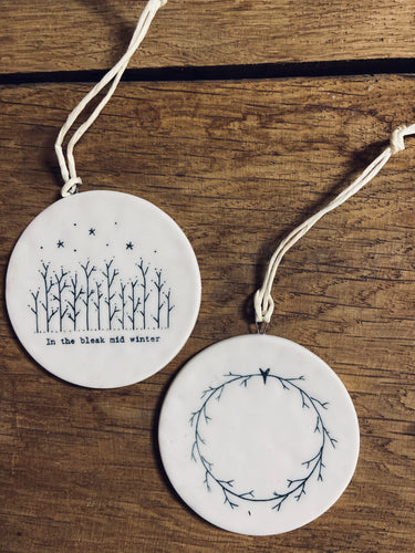 Handmade Ceramic In The Mid Bleak Winter Reversible Bauble