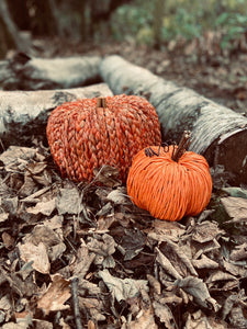 Handmade Orange Straw Pumpkin with Decorative Stalk