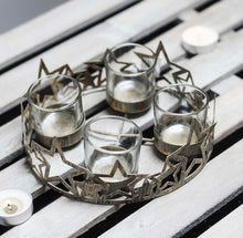 Metal Star Plate With 4 Tea Light Holders