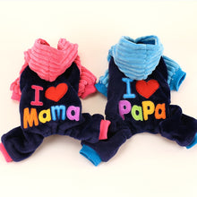 I Love Papa and Mama Hooded Puppy Outfit - Puppy Capital