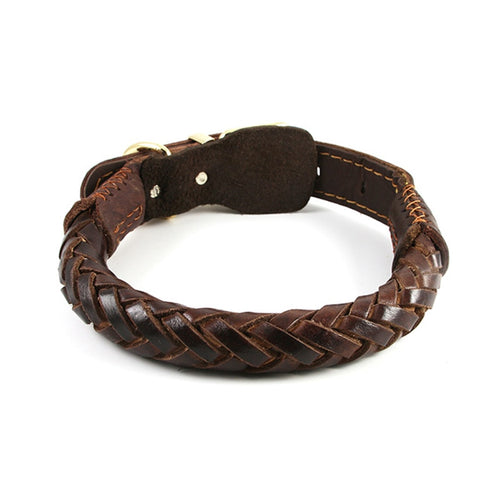Leather Braided Dog Collar Handmade Medium to Large Collar Heavy Duty - Puppy Capital