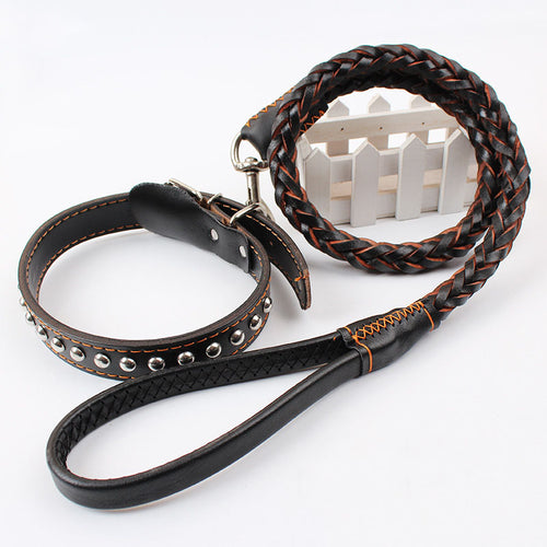 Leather Dog Leash Studded Collar Handmade Braided Lead for Large Dogs 3/4