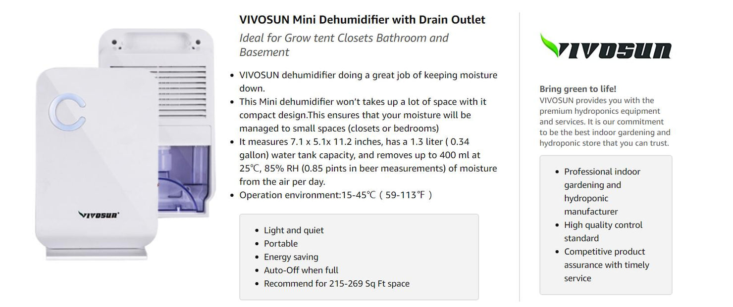 VIVOSUN Mini Dehumidifier for Grow Tent
