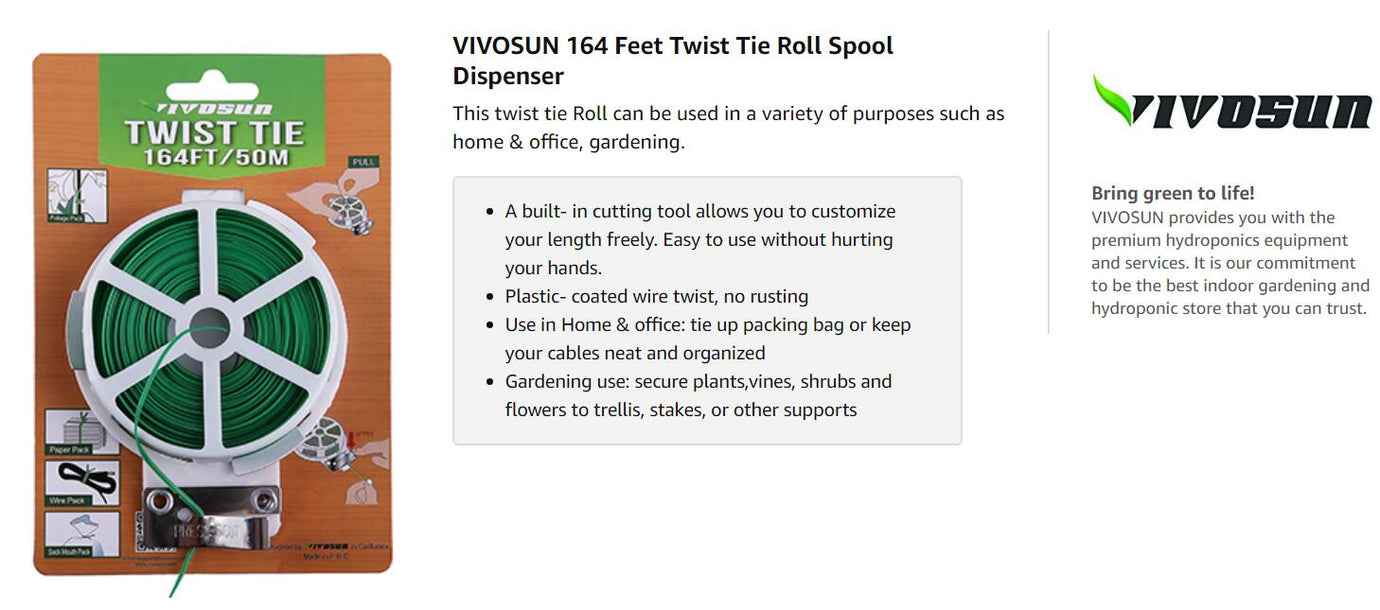VIVOSUN 164 Feet Twist Tie Roll Spool Dispenser