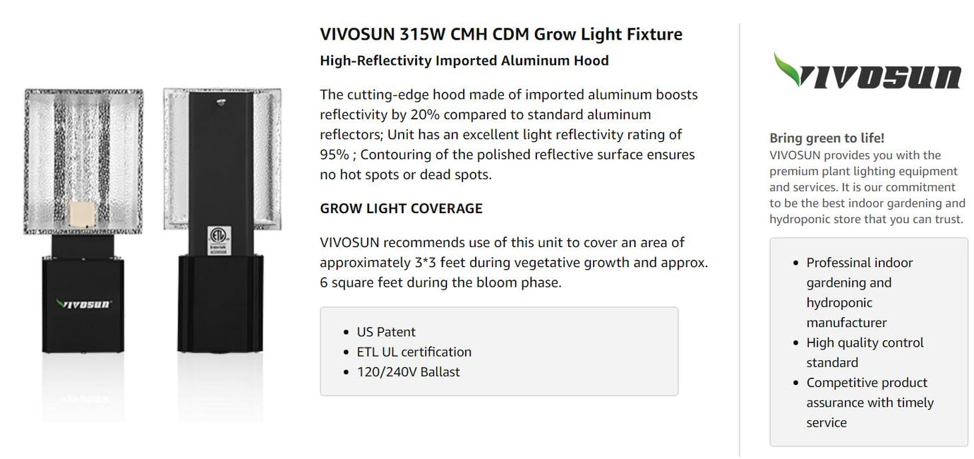 VIVOSUN 315W Ceramic Metal Halide CMH/CDM Grow Light Fixture