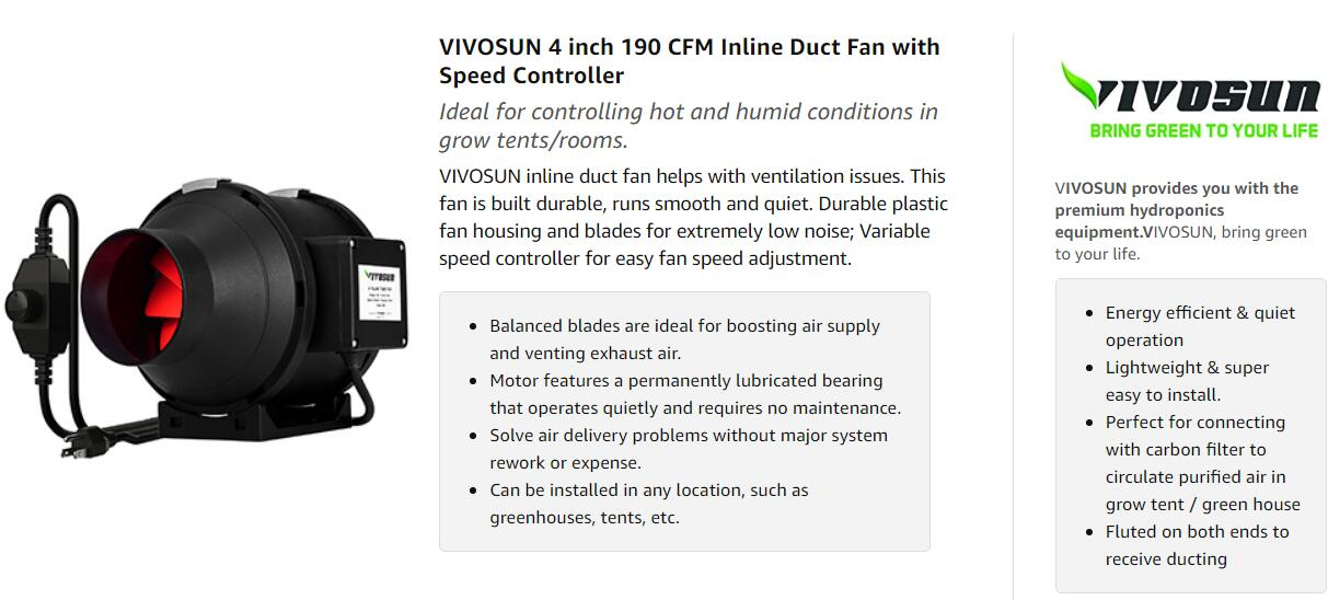 VIVOSUN 4 Inch 190 CFM Inline Duct Fan with Variable Speed Controller
