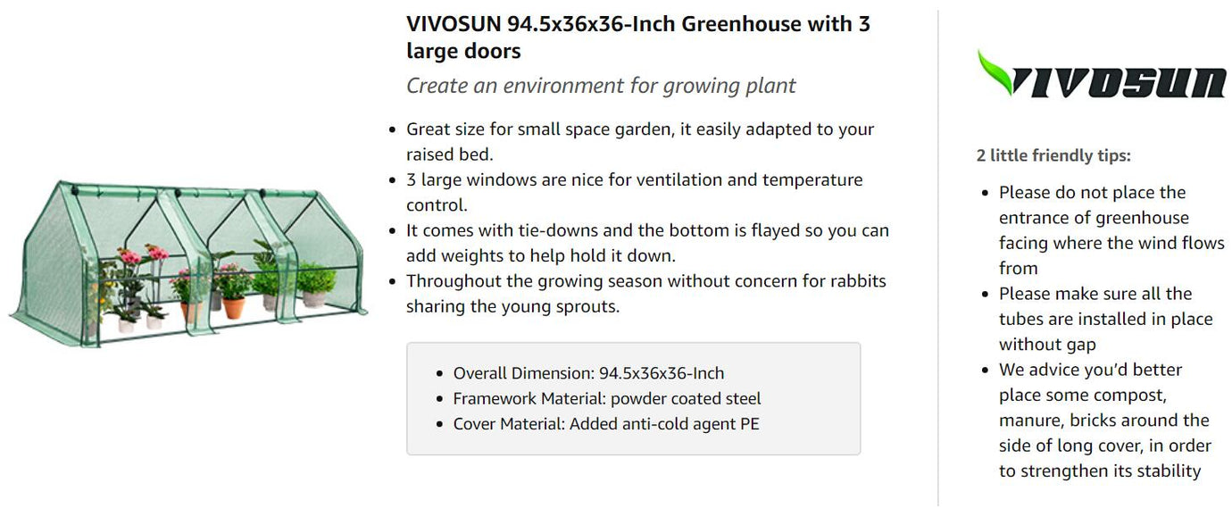 "VIVOSUN Portable Greenhouse with Roll-up Large Door 94.5""x36""x36"""