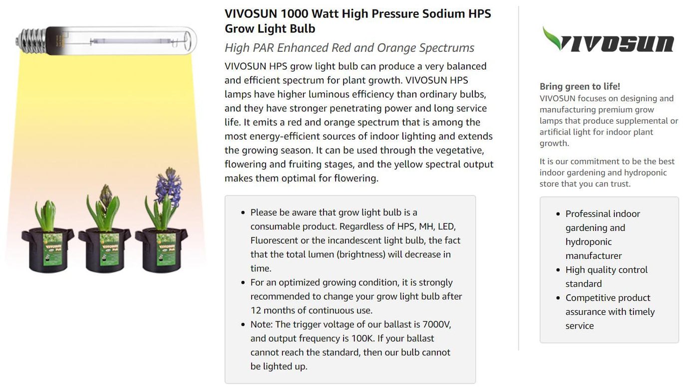 VIVOSUN 1000W Flowering High-Pressure Sodium HPS Grow Light 2-pack