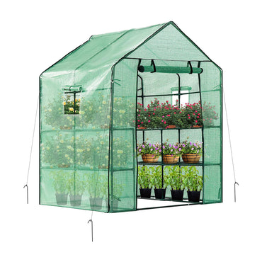 "VIVOSUN 57""x57""x77"" Mini Walk in Green House 2 Tiers 8 Shelves"