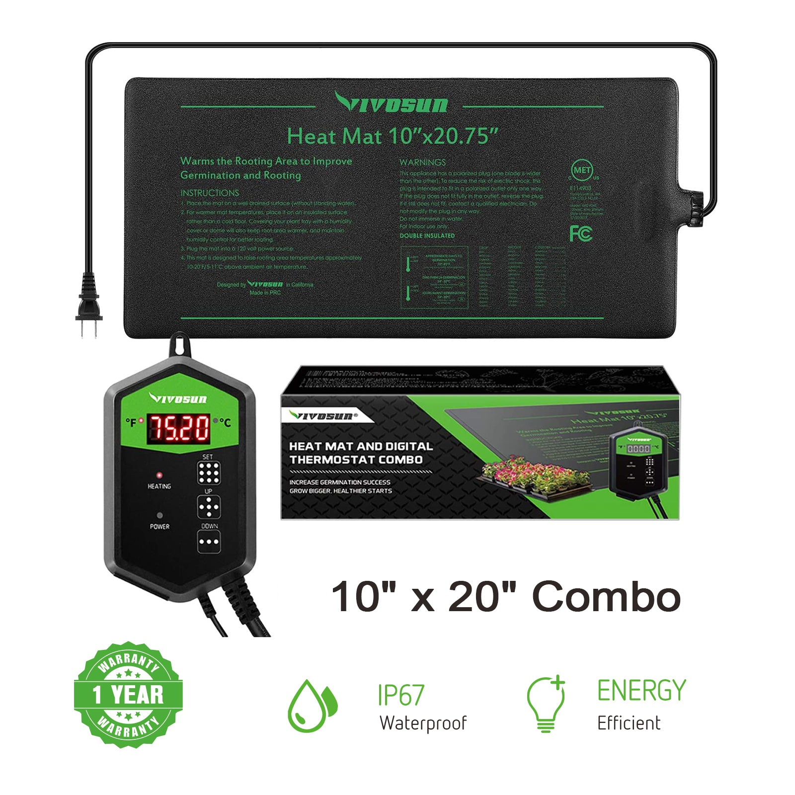 VIVOSUN Seedling Heat Mat Digital Thermostat Combo  10