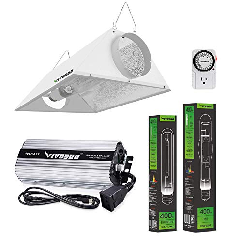 VIVOSUN Hydroponic 400 Watt HPS MH Grow Light Air Cooled Reflector Kit - VIVOSUN