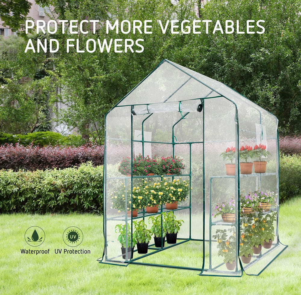 "VIVOSUN 57""x57""x77"" Transparent Walk-in Green House 2 Tiers 8 Shelves"