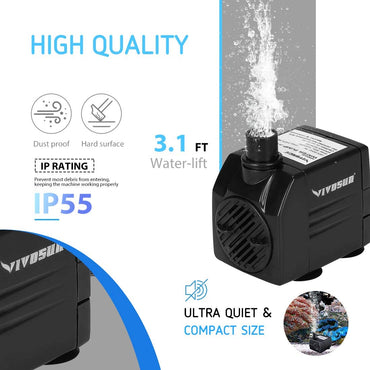 VIVOSUN 120GPH Submersible Pump, Ultra Quiet Water Pump with 3.1ft High Lift - VIVOSUN
