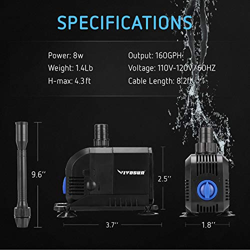 VIVOSUN 160GPH Submersible Pump, Ultra Quiet Water Pump with 4.3ft High Lift - VIVOSUN